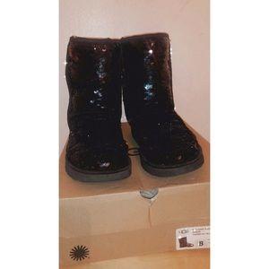 Black sequin ugg boot size 8